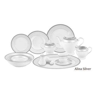 06c0e35e9213a 57-Piece Silver Border Porcelain Dinnerware Set. More Options Available. Lorren  Home Trends ...