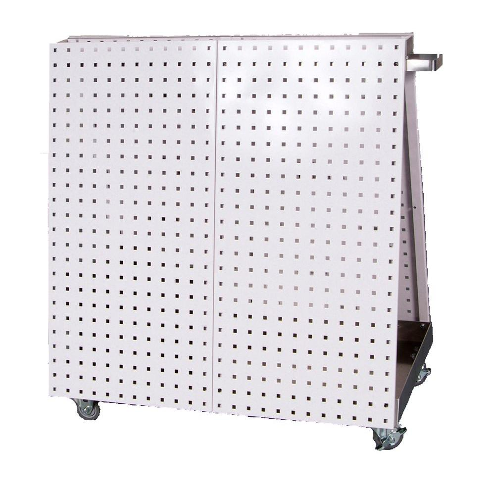 LocBoard 36-3/4 in. L x 39-1/4 in. H x 21-1/4 in. W Aluminum Frame Tool Cart with Tray, 56-Piece LocHook Asst and 4 Hanging Bins
