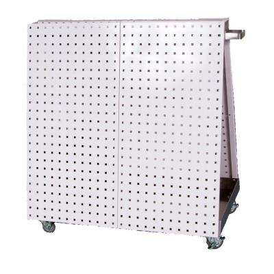 36-3/4 in. L x 39-1/4 in. H x 21-1/4 in. W Aluminum Frame Tool Cart with Tray, 56-Piece LocHook Asst and 4 Hanging Bins