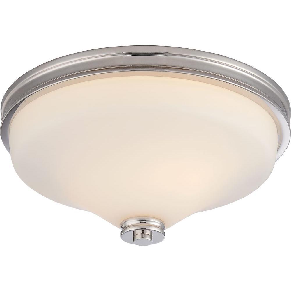 Sara 2-Light Polished Nickel Flushmount