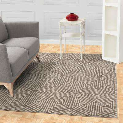 Jasmin Collection Cubes Design Gray and Ivory 3 ft. x 10 ft. Runner Rug