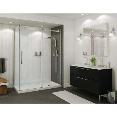 Halo 34 in. x 60 in. x 79 in. Frameless Corner Sliding Shower Enclosure in Chrome