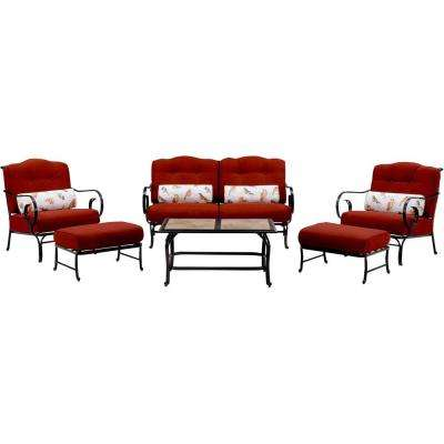 Oceana 6-Piece Metal Patio Seating Set with a Tile-Top Coffee Table and Crimson Red Cushions
