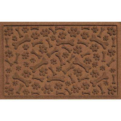 Dark Brown 24 in. x 36 in. Paws and Bones Polypropylene Pet Mat