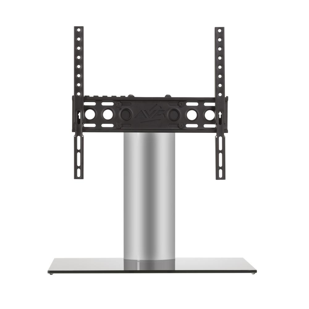 AVF Universal Table Top TV Base, Silver The AVF B400BS-A is a Universal Table Top TV Stand/TV Base for most TVs 37 in. to 55 in. It supports TVs up to 66 lbs. It is VESA compatible with mounting hole patterns between 100x100 and 400x400. Universal TV Bases are perfect in situations where the original TV stand has been lost or discarded (which often happens when a TV has been wall mounted). These Universal Pedestal-Style bases are also excellent, robust replacements for the wide-spread TV feet that are provided with some TVs. In many cases, the wide-spread, duck-feet, do not allow a TV to fit safely on a TV stand or other furniture. The gloss black and silver finish complements any TV and decor. For TV Sizes: 37, 39, 40, 42, 43, 46, 47, 50, 52, 55.