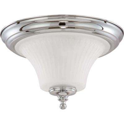 Lamberta 2-Light Polished Chrome Flushmount with Frosted Etched Glass