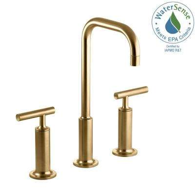 Purist 8 in. Widespread 2-Handle Mid-Arc Bathroom Faucet in Vibrant Moderne Brushed Gold with High Gooseneck Spout