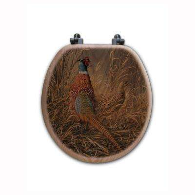 Late Season Solitude Pheasant Round Closed Front Wood Toilet Seat in Oak Brown