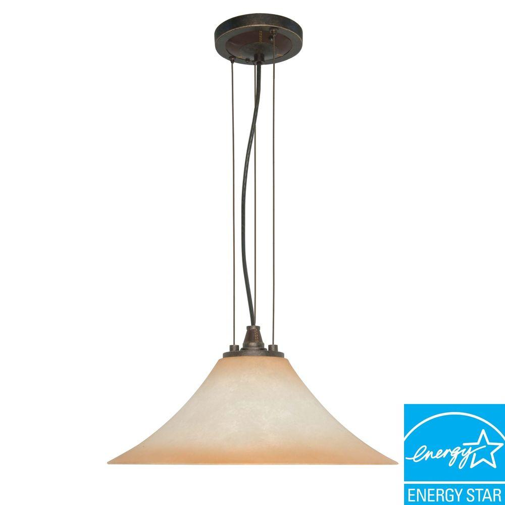 Glomar Viceroy 1-Light Hanging Metal Golden Umber Pendant Light with Burnt Sienna Sienna Glass Shade-DISCONTINUED