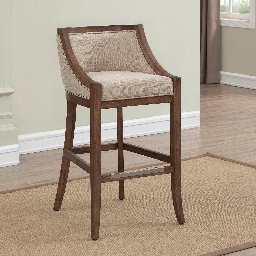 AmericanWoodcrafters American Woodcrafters Michelle 30 in. Distressed Warm Brown Cushioned Bar Stool