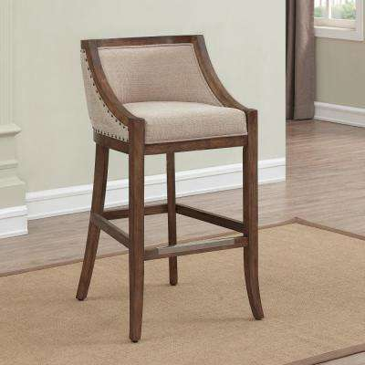 Michelle 30 in. Distressed Warm Brown Cushioned Bar Stool