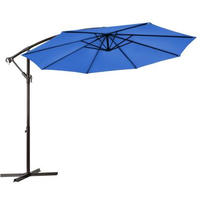 10 ft. Cantilever Offset Yard Garden Outdoor Patio Umbrella in Blue with 8 Ribs
