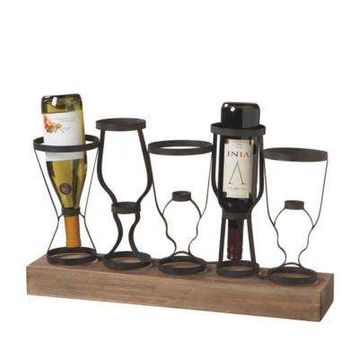 Sundry 23.25 in. Metal Table and Wine Bottle Holder in Black