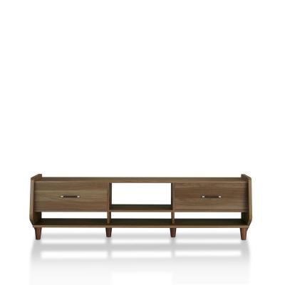 Penelope 71 in. Honey Walnut Wood TV Stand with 2 Drawer Fits TVs Up to 70 in. with Cable Management