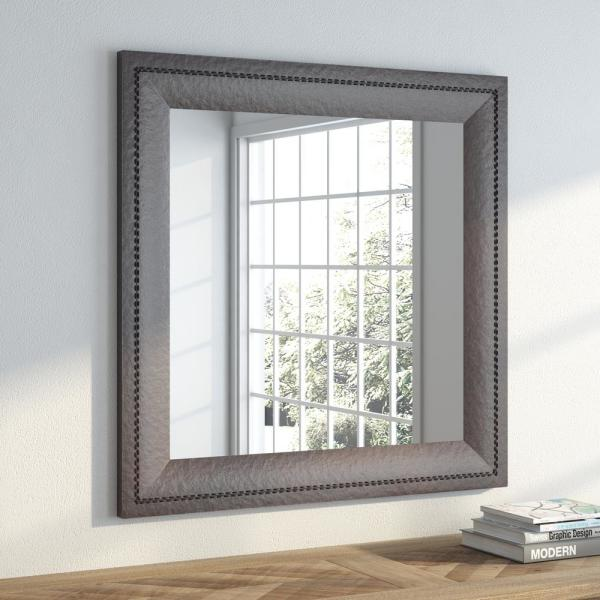 undefined 32.75 in. x 32.75 in. Espresso Leather Square Vanity Wall Mirror