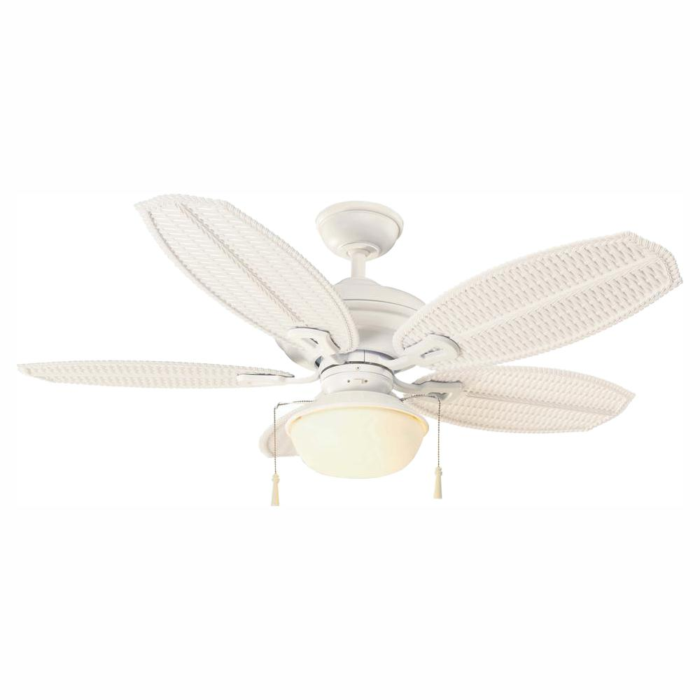 Hampton Bay Palm Beach III 48 in. LED Indoor/Outdoor Matte White Ceiling Fan with Light Kit