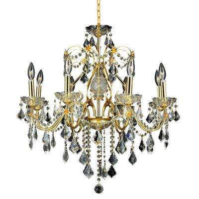 8-Light Gold Chandelier with Crystal Clear