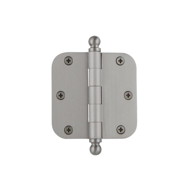 3.5 in. Satin Nickel Ball Tip Residential Hinge with 5/8 in. Radius Corners