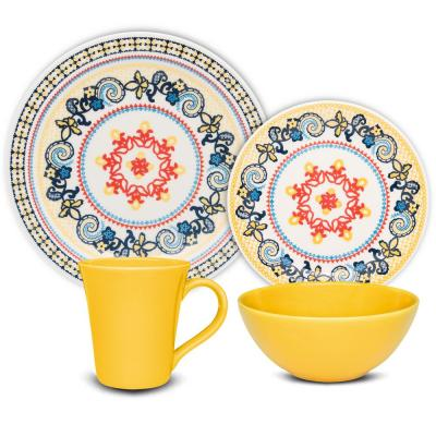 Floreal Orange and Yellow 32-Piece Casual Orange and Yellow Earthenware Dinnerware Set (Service for 8)