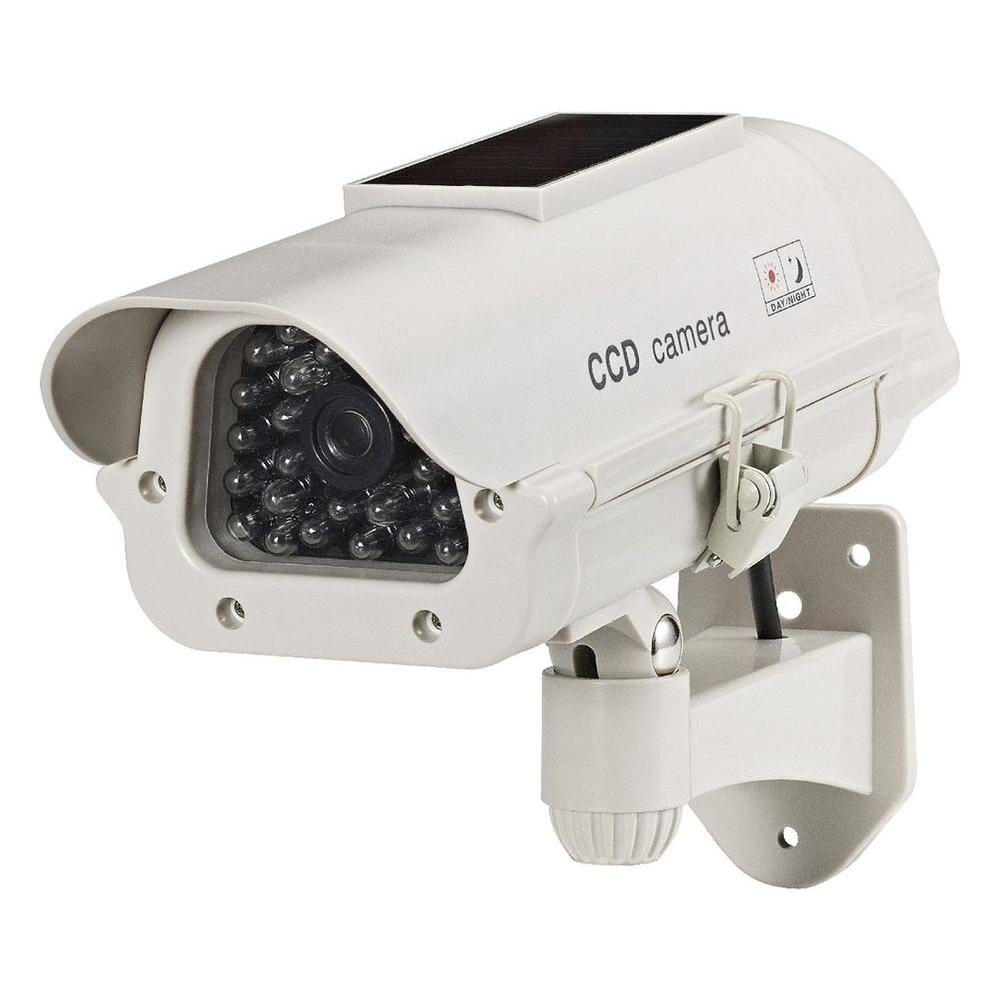 Dummy Solar Powered Camera with LED Light - Beige