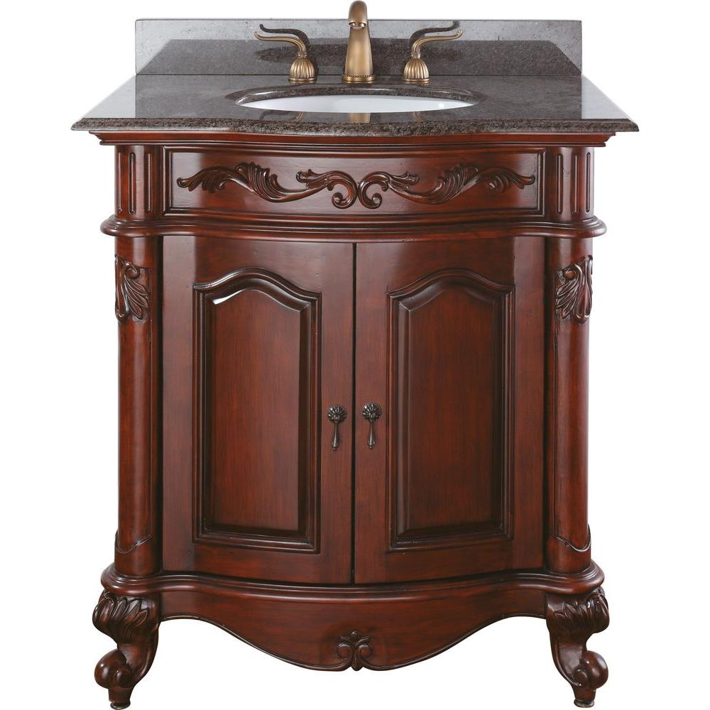 H Vanity In Antique Cherry With Granite Top Imperial Brown And Basin Provence Vs30 Ac The Home Depot