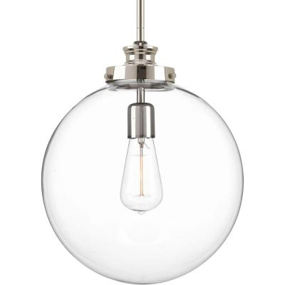Penn 12 in. 1-Light Polished Nickel Large Pendant with Clear Glass