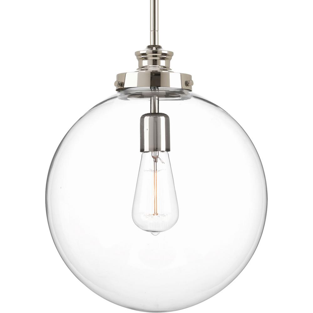 large glass pendant light. Progress Lighting Penn 12 In. 1-Light Polished Nickel Large Pendant With Clear Glass Light E