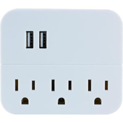 3-Outlet 2-USB Charging Station in White