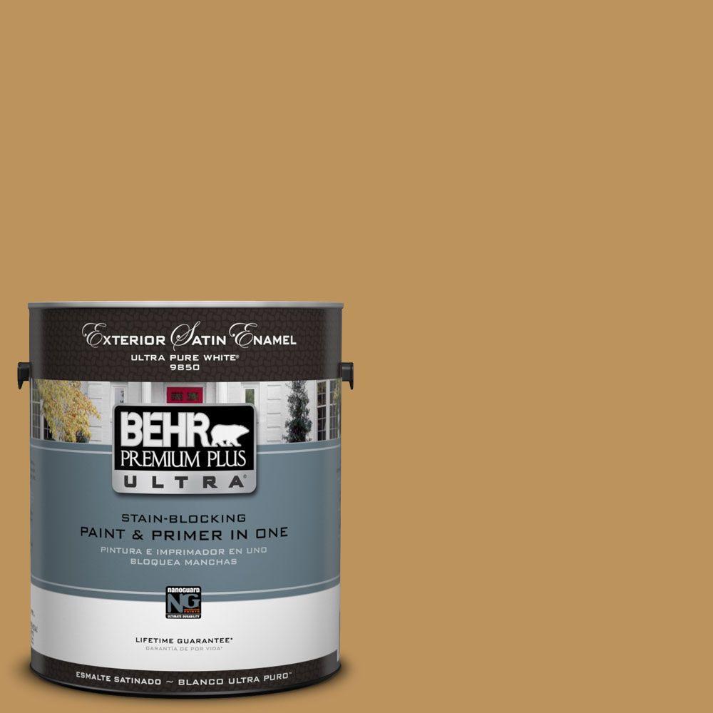 BEHR Premium Plus Ultra 1-Gal. #UL160-3 Gold Torch Satin Enamel Exterior Paint