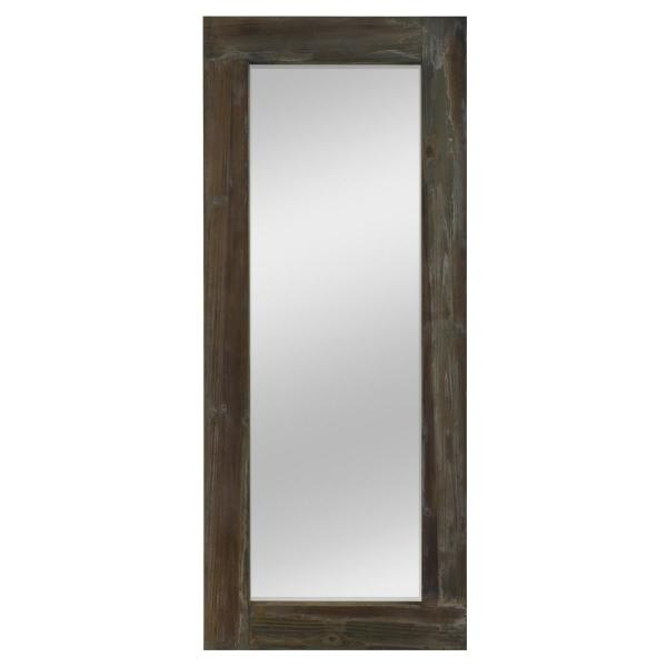 Neu Type Large Brown Wood Antiqued Rustic Mirror 58 In H X 24 In W Jj00780zzp The Home Depot
