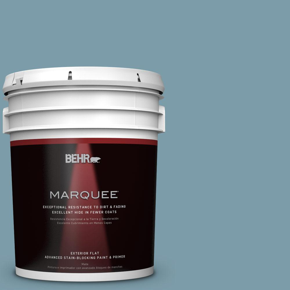 BEHR MARQUEE 5-gal. #S470-4 Dolphin Blue Flat Exterior Paint