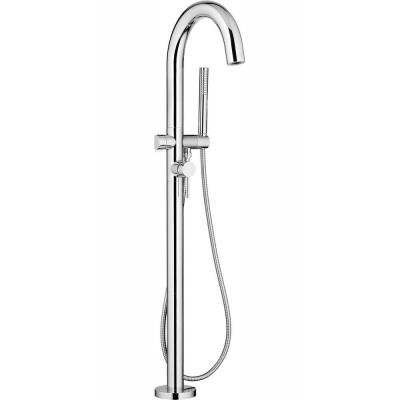 Contemporary Round 1-Handle Freestanding Roman Tub Faucet for Flash Rough-in Valve with Hand Shower in Polished Chrome