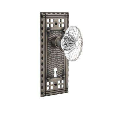 Craftsman Plate with Keyhole Single Dummy Oval Fluted Crystal Glass Door Knob in Antique Pewter