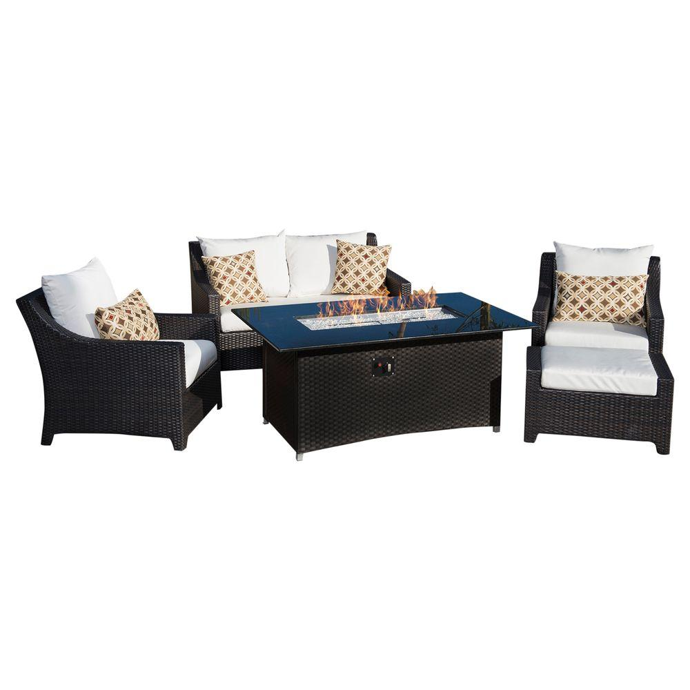 Deco 5 piece love and club patio fire pit seating set with moroccan cream cushions