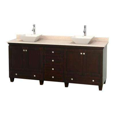 Acclaim 80 in. W Double Vanity in Espresso with Marble Vanity Top in Ivory and Bone Sinks