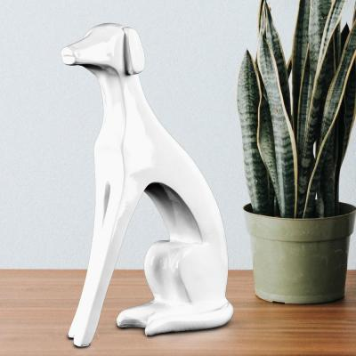 White Resin Abstract Dog Sculpture