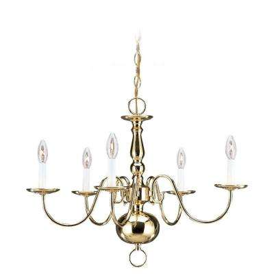 Traditional 5-Light Polished Brass Single-Tier Chandelier