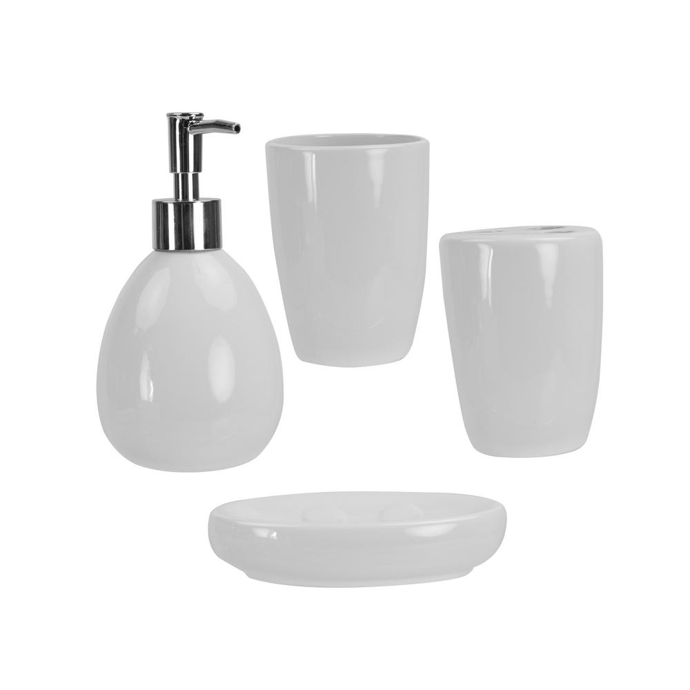 4-Piece Bath Accessory Set in White