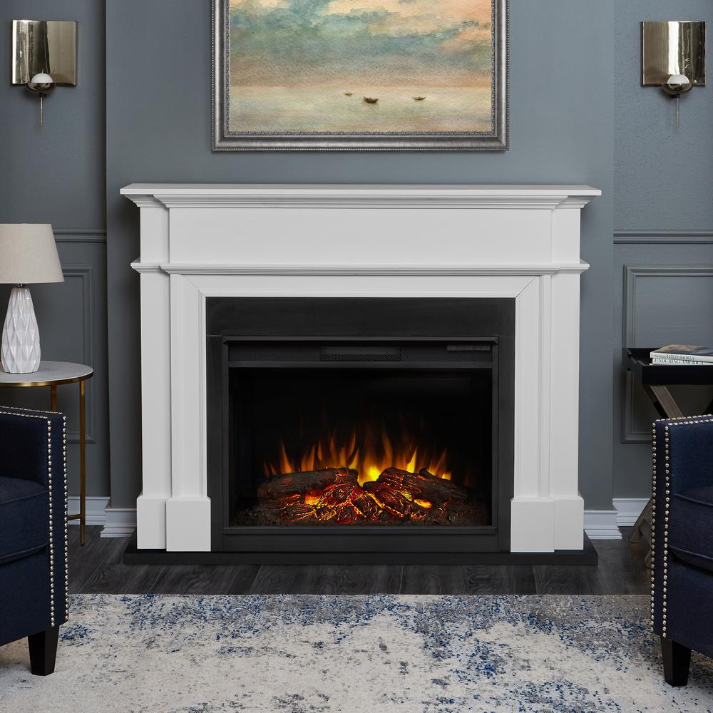 Classic meets traditional in the Harlan Grand Electric Fireplace. Striking molding and an offset facade frame the contrasting trim of this grand fireplace. Featuring Real Flame