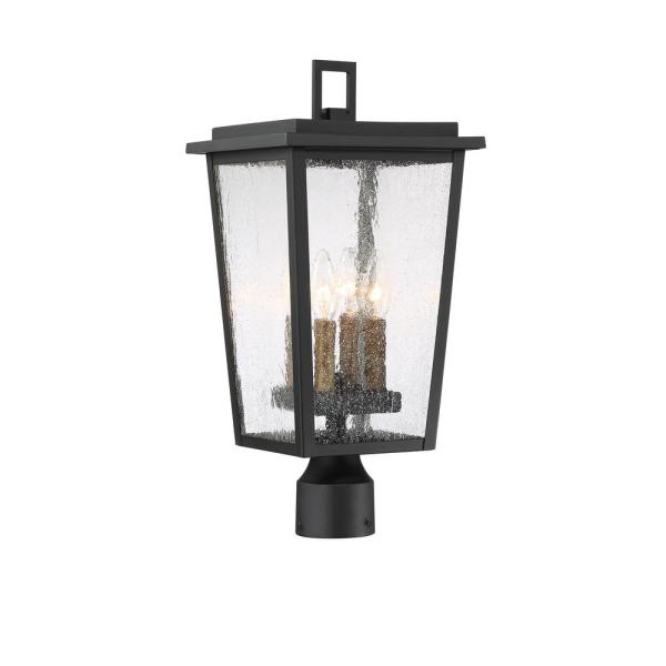 Cantebury Large 4-Light Sand Black with Gold Outdoor Post Lantern