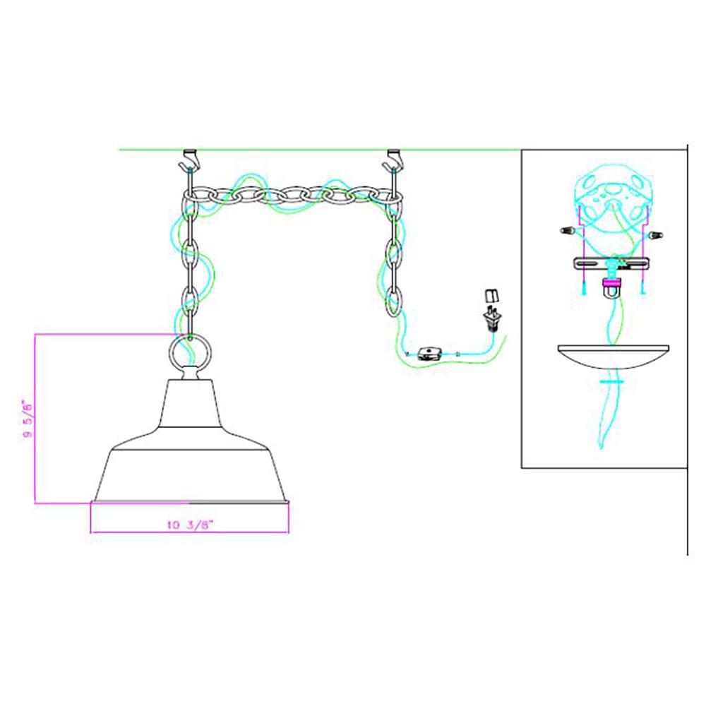 Mason 1-Light Galvanized Swag Pendant Light