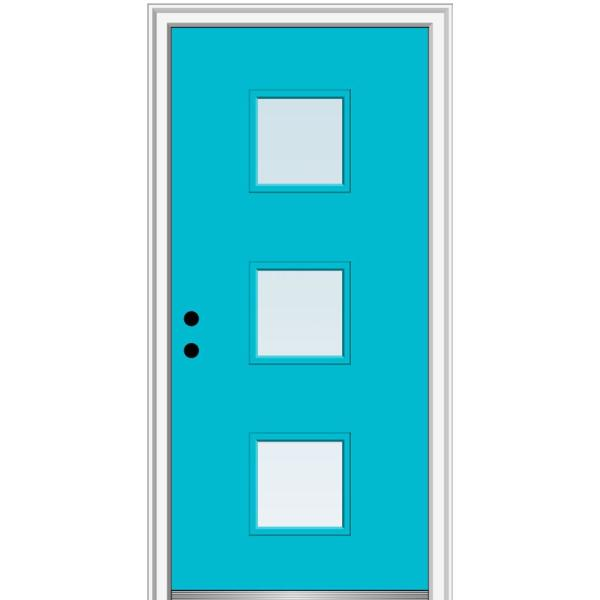 Mmi Door 36 In X 80 In Aveline Right Hand Inswing 3 Lite Clear Low E Glass Painted Steel Prehung Front Door On 4 9 16 In Frame Z0351430r The Home Depot