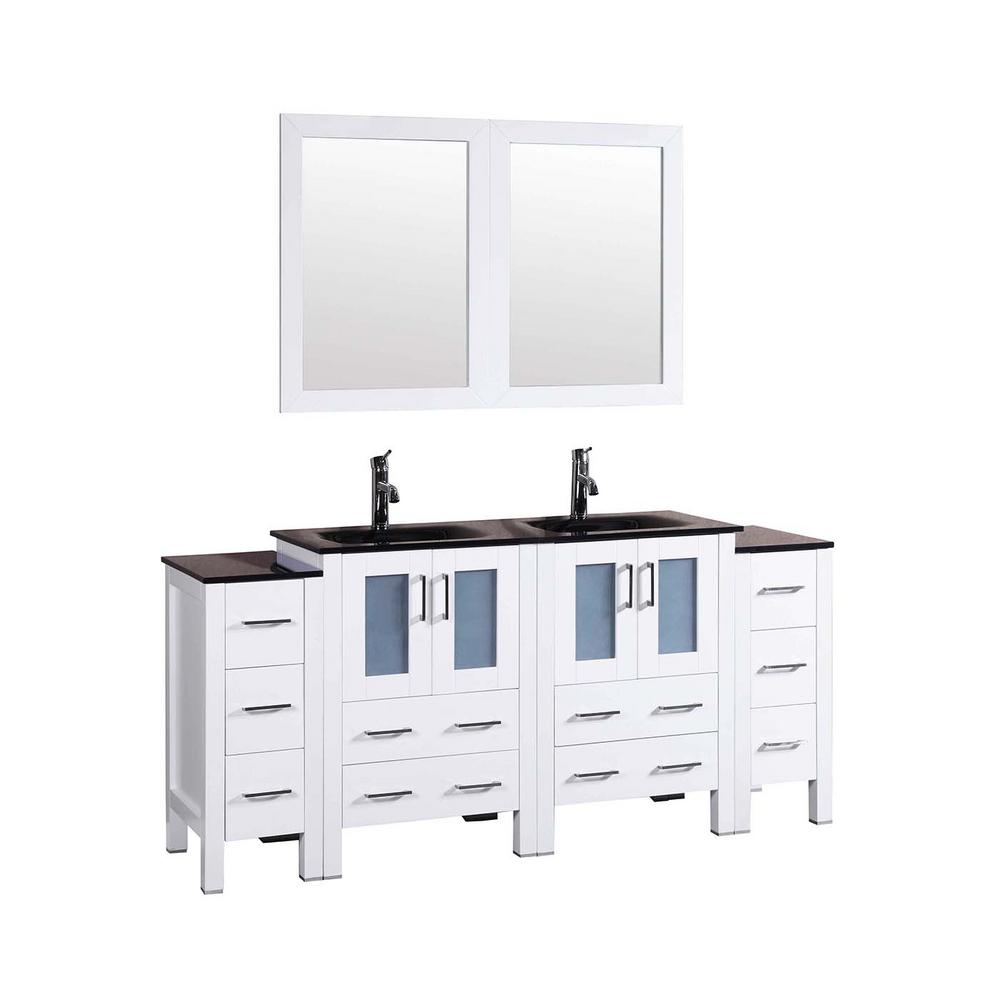 72 in. W Double Bath Vanity in White with Tempered Glass