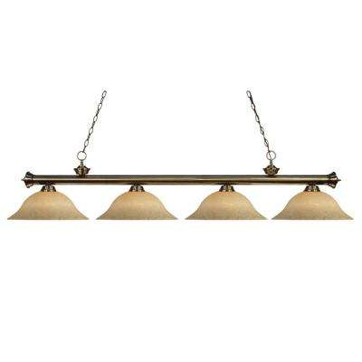 Lawrence 4-Light Antique Brass Incandescent Ceiling Island Light
