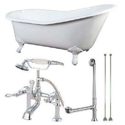 Slipper 5 ft. Cast Iron Clawfoot Bathtub in White with Faucet Combo in White Feet