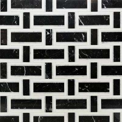 Mingle Nero White Carrara and Thassos Interlocking  12 7/8 in. x 12 3/4 in. Marble Mosaic Tile (1.14 sq. ft.)