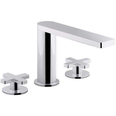 Composed 8 in. Widespread 2-Handle Cross Handle Bathroom Faucet with Drain in Polished Chrome