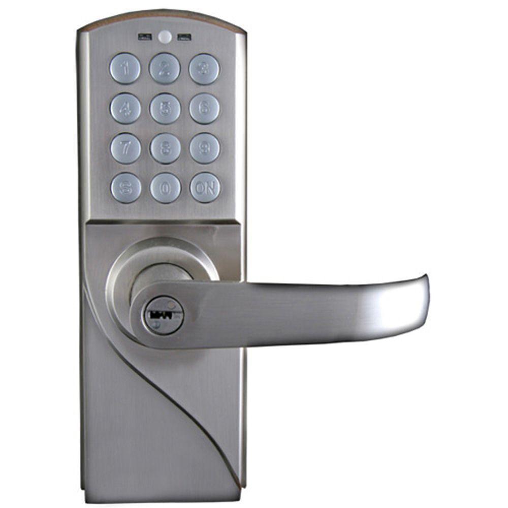 LockState 10 Code Digital Keyless Single Cylinder Silver Right Hand Door Lock