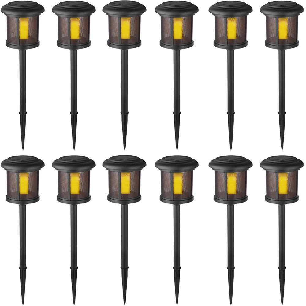 Solar Black LED Flicker Flame Path Light (12-Pack)