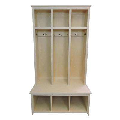 3 Section Sit And Store Unfinished Shaker Style Hall Tree
